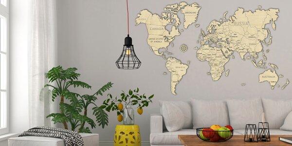 Jedinečná drevená mapa sveta v 3 veľkostiach