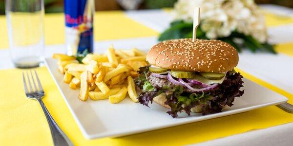 Šťavnatý Street super burger + hranolčeky a nápoj