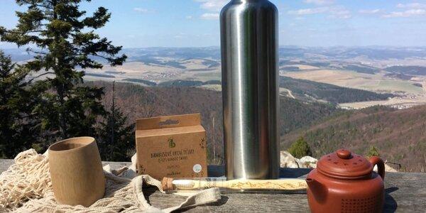 Ekologický bambusový pohár a nerezová termofľaša