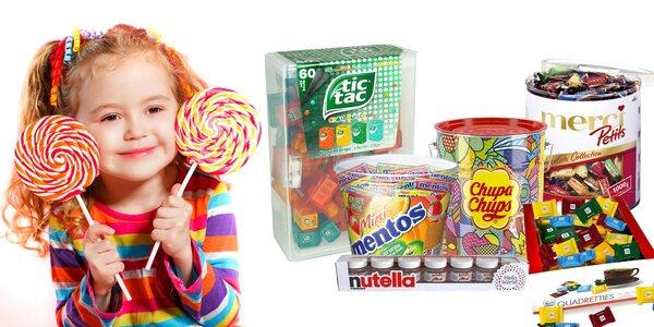 Veľké boxy cukroviniek Merci, Nutella, Tic Tac a iné