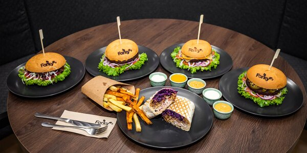 Nadupané vegánske burgery či wrap menu
