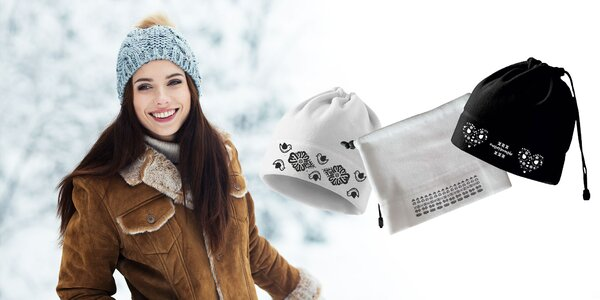 Folklórna fleecová čiapka a nákrčník 2v1
