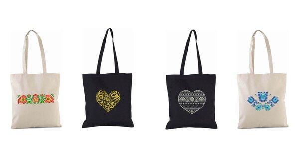 Pevná nákupná taška s folklórnou výšivkou