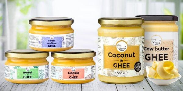 Ghí: čisté, s extraktmi alebo s kokosovým olejom