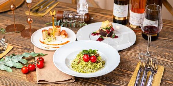 Vegetariánske/mäsové 3-chodové menu+degustácia vín