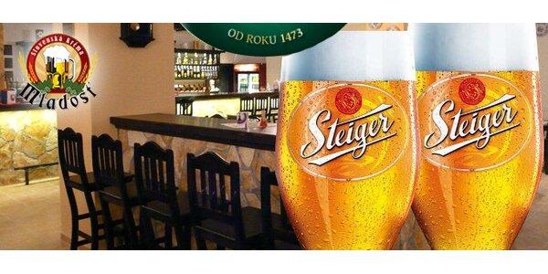 0,50 € za DVE veľké čapované pivá Steiger so zľavou 67%!