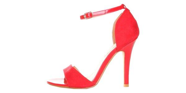 Červené sandálky s ihlovým podpätkom Ana Lublin