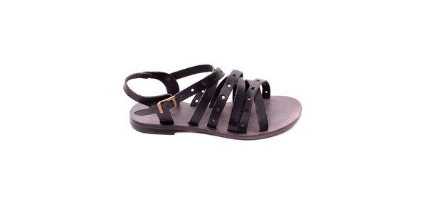 83b7ce22ebb1 Dámske čierne kožené sandálky s hviezdičkami Bagatt