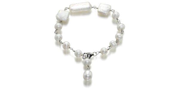 Biely perlový náramok Orchira
