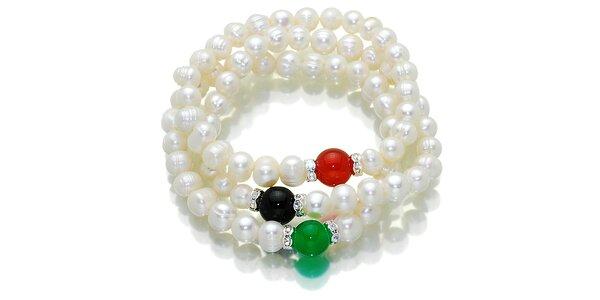 Biely perlový náramok Orchira s tromi farebnými korálkami