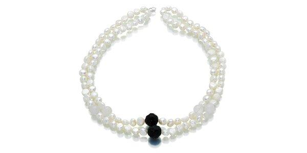 Biele perly Orchira s onyxom