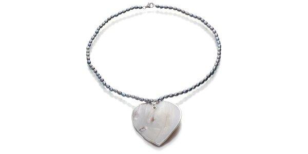 Perlový náhrdelník Orchira s velkým perleťovým srdcom