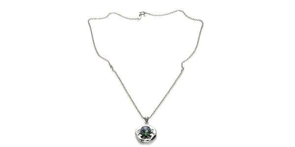 Strieborný náhrdelník Orchira s čiernou perlou