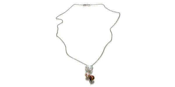 Strieborný náhrdelník Orchira s bielou, broskyňovou a čokoládovou perlou