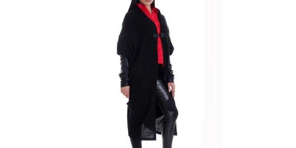 Dámsky kašmírový čierny svetrokabát s vreckami Caramela Fashion