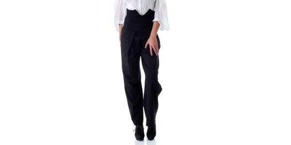 Dámske čierne nohavice so zaväzovaním na chrbáte Caramela Fashion