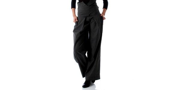 Dámske šedé nohavice so zaväzovaním na chrbáte Caramela Fashion