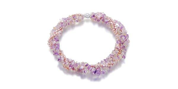 Náhrdelníky Orchira s ružovými a fialovými perlami