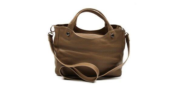 Dámska hnedá kabelka na zips s ramenným popruhom Acosta