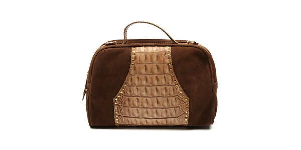 Dámska hnedá kabelka s dvomi zipsami Acosta