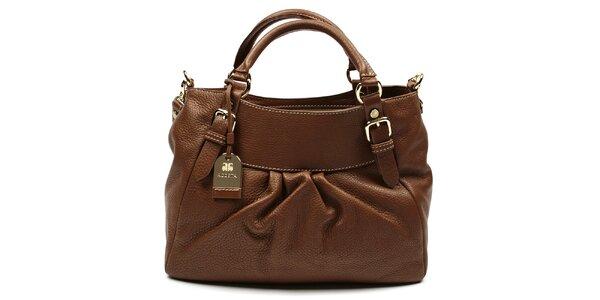 Dámska tmavo hnedá kabelka na zips s visačkou Acosta