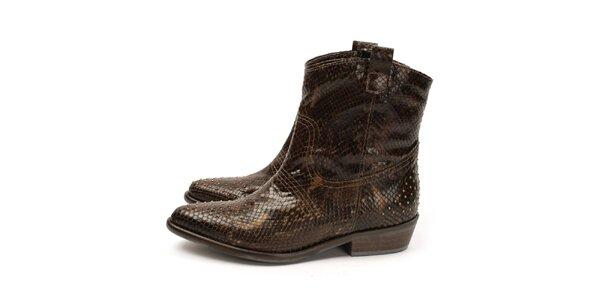 Dámske kovbojské topánky s imitáciou hadej kože Acosta