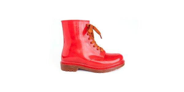 Dámske červené topánky s oranžovými šnúrkami Via Bellucci