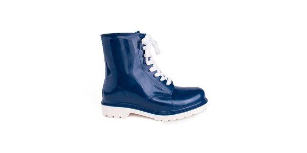 Dámske modré topánky s bielymi šnúrkami Via Bellucci