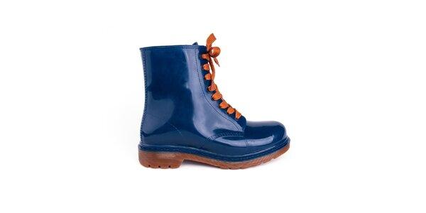 Dámske modré členkové topánky s oranžovými šnúrkami Via Bellucci
