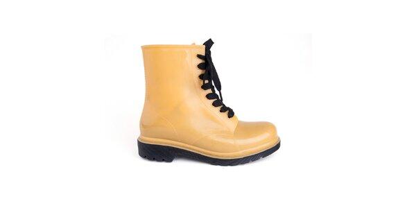 Dámske žlté topánky s čiernymi šnúrkami Via Bellucci