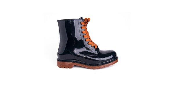Dámske čierne topánky s oranžovými šnúrkami Via Bellucci