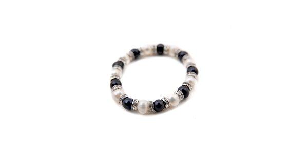 Dámsky náramok z čiernych a bielych perál Orchira