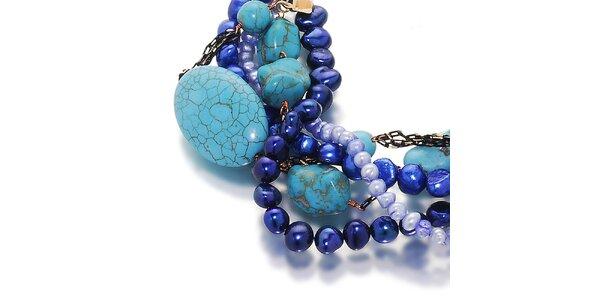 Dámsky modro-tyrkysový náramok s perlami Orchira
