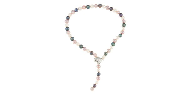 Dámsky farebný perlový náhrdelník so srdiečkom Orchira