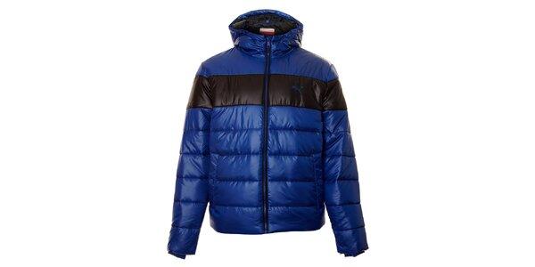 Pánska modrá zimná prešívaná bunda Puma s čiernym pruhom
