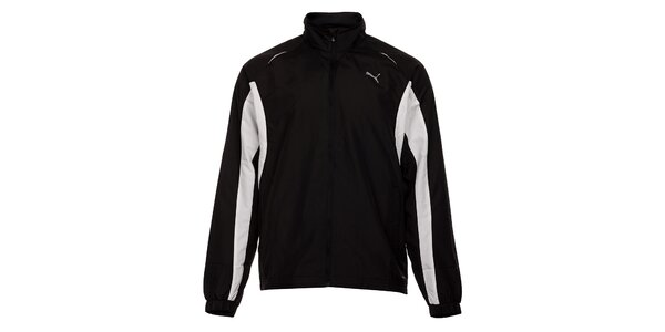 Pánska čierna športová bunda Puma s bielymi detailmi