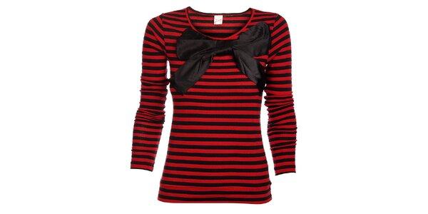 Dámsky červeno-čierny prúžkovaný sveter Pussy Deluxe s veľkou saténovou mašľou