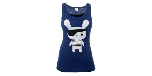 Dámske modré tričko s pirátským zajacom Pussy Deluxe