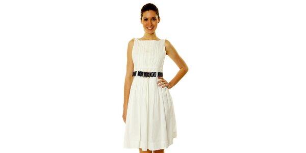Dámske biele šaty s tmavým opaskom Roberto Verino