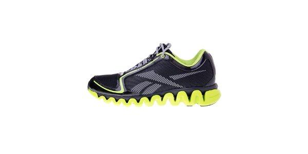 Pánske čierne bežecké topánky Reebok s technologiou ZigTech a zelenými detailami