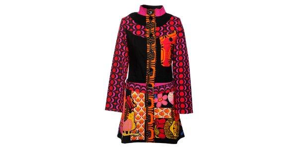 Dlhší ružovočierny kabát Savage Culture