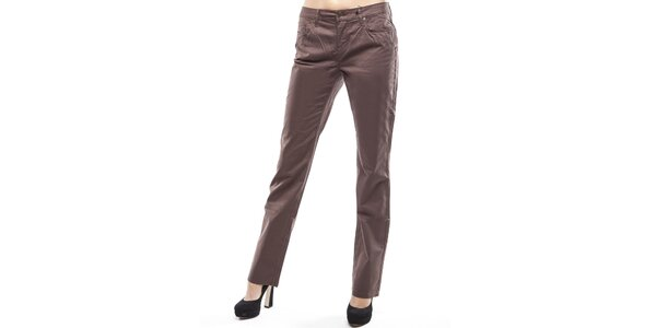 Dámske hnedé rovné chino nohavice Tommy Hilfiger