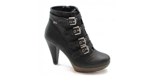 Čierne kotníčkové topánky s prackami Xti