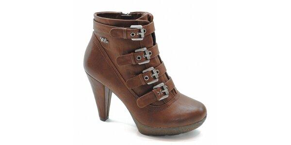 Hnedé kotníčkové topánky s prackami Xti