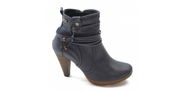 Modré kotníčkové topánky s viazaním Xti
