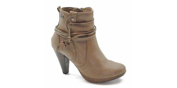 Béžové kotníčkové topánky s viazaním Xti