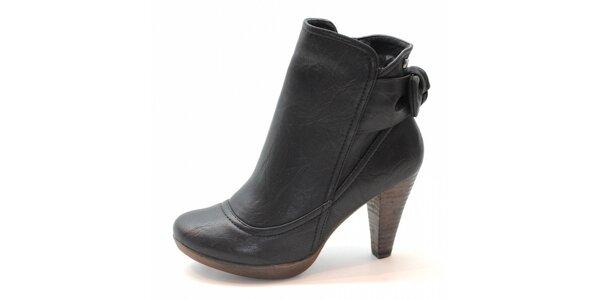 Čierne kotníčkové topánky s mašľou Xti