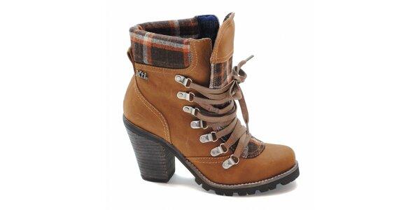 Ťavie kotníčkové topánky s károvaným lemom Xti