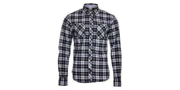 Pánska čierno-biela kockovaná košeľa Tommy Hilfiger