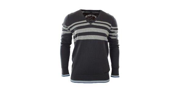 Pánsky šedomodrý sveter s pruhmi Tommy Hilfiger